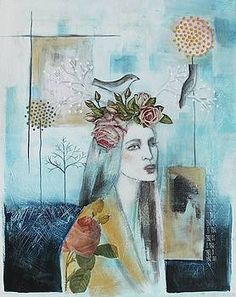 Mixed Media - Dreamer by Johanna Virtanen , Original Paintings, Painting Illustration, Painting, Art Girl, Art, Canvas Art, Original Art, Saatchi Art, Portraiture Art