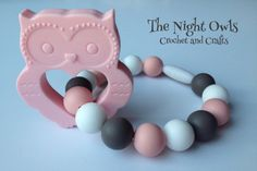 Silicone Owl Teething Accessory - attach to Ergo, Tula, Fabric Baby Carrier - for baby wearing - NOT a necklace - Pink, White and Grey