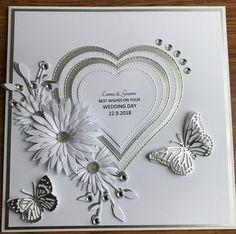 Wedding Day Cards, Wedding Cards Handmade, Wedding Anniversary Cards, Handmade Anniversary Cards, Gift Wedding, Engagement Cards, Fancy Fold Cards, Wedding Scrapbook, Butterfly Cards
