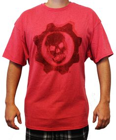 """Rev up your chainsaw Lancer and take on the Locust Horde with this officially licensed Gears of War t-shirt. This distressed red tee features the game's iconic """"Crimson Omen"""" logo on the front. Men's"""