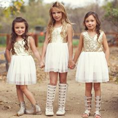 Fashion Kids Summer Clothes Toddler Baby Girl Lovely Bows Gold Sequined Dress Party Cake Dress 2-10Y
