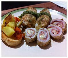 Meat rolls with Praga ham and pesto