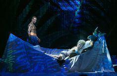 """A scene from Julie Taymor's new production of """"A Midsummer Night's Dream"""" with, from left, David Harewood as Oberon, Tina Benko as Titania and Max Casella as Nick Bottom."""