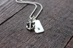 Gunmetal Pewter Anchor and Pewter Tag Custom Initial Nautical Necklace by Rustic Brand