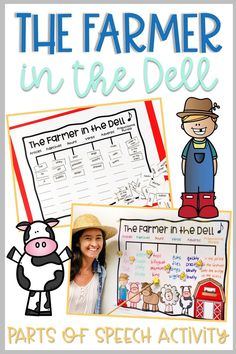"""Fun and engaging way to practice and review parts of speech, including articles, adjectives, nouns, verbs, adverbs, and prepositions. Students brainstorm words for each part of speech. As a class, they sing the silly sentences they create to the tune of """"The Farmer in the Dell."""" Choose different words from the list to create new songs! The activity works well in a whole group lesson, as well as in small groups or partners, or for literacy centers or word work stations."""