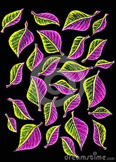 A free hand gel pen drawing of many pretty, colorful small leaves on a black background, Coloring Book Art, Coloring Pages, Small Leaf, Gel Pens, Black Backgrounds, Plant Leaves, Colorful, Drawings, Pretty