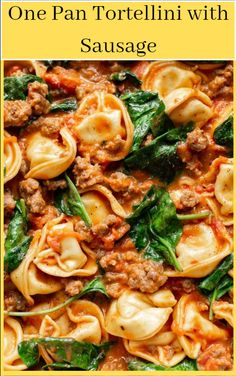 This simple one pan recipe makes the perfect easy weeknight dinner! Spinach, sausage, and cheese tortellini in a creamy tomato sauce are heavenly together. dinner One Pan Tortellini with Sausage Easy Tortellini Recipes, Sausage Tortellini, Spinach Tortellini, Tortellini Soup, Easy Weeknight Dinners, Easy Meals, Pasta Facil, Creamy Tomato Sauce, One Pan Dinner