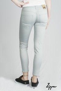Women's Silk Blue Zipper Organic Sateen Jeans WAS £65 NOW £40 Available now at Monkeegenes.com