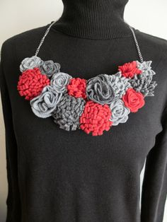 Items similar to Felted necklace red gray, felt floral collar for work office date party, perfect for unique gift for mom sister best friend aunty daughter on Etsy Felt Necklace, Bib Necklaces, Handmade Necklaces, Crochet Necklace, Handmade Gifts, Minimal Jewelry, Modern Jewelry, Unique Jewelry, Unique Gifts For Mom