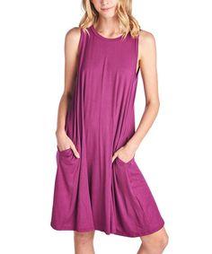 Another great find on #zulily! Magenta Pocket Shift Dress #zulilyfinds
