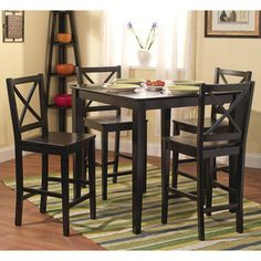 Simple Living Cross Back Counter Height 5 Piece Table And Chair Set High Dining Sethigh Top Kitchenhigh