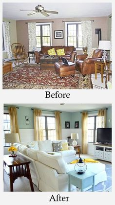 Small Living Room Makeovers • Tips, Ideas and Before and Afters. Including, from 'four generations, one roof', this wonderful family room makeover.
