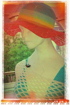 Crosheted summer hat with bikini top and net