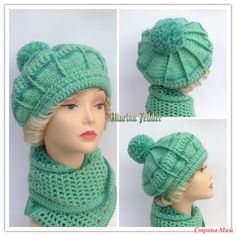 "Продаю зимний комплект. Цена 2000-00. Доставка 250-00 (1кл). Цена только для пользователей сайта СМ. Оплата на карту СБ. Комплект ""Нефрит"". Шапка и снуд, петля Мебиуса в два оборота. Crochet Kids Hats, Baby Hats Knitting, Knitted Hats, Knit Crochet, Crochet Doily Patterns, Crochet Doilies, Mitten Gloves, Mittens, Crochet Tablecloth"