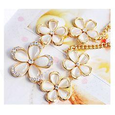 39% OFF! Women's Sunflower Shaped Opal + Zinc Alloy Pendant Necklace - Tranlucent White + Golden #madeinchina #necklace >http://dxurl.com/RdyZ