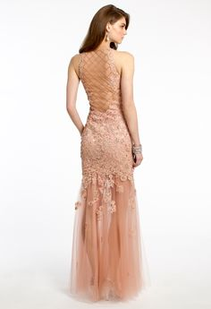 Beaded Lace Dress with Illusion Back from Camille La Vie and Group USA