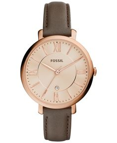 With rich leather and a rosy case, this Jacqueline watch from Fossil goes from office hours to after hours. | Gray leather strap | Round rose gold-tone stainless steel case, 36mm | Rose gold-tone dial