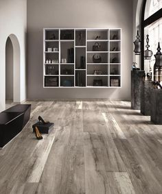 BuildDirect – Flexible Italian Porcelain Tile - Rustic Sequoia Collection – Sierra Gray - Living Room View