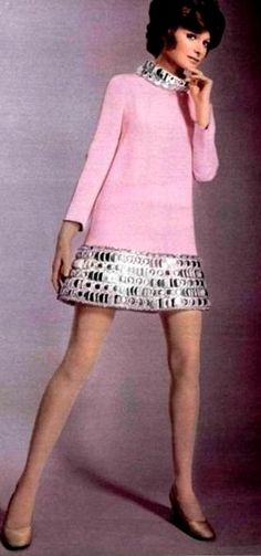 Pink mini-dress with metallic trim around the hem and collar by Pierre Cardin, 1969