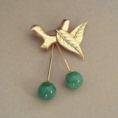 Sale Vintage CHERRY Brooch Jadeite Cherries STERLING Silver Vermeil Signed H.K.FD c.1940's
