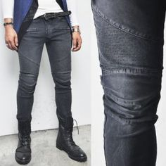 Bottoms :: Designer's Washed Cotton Slim Gray Biker-Pants 89 - Mens Fashion Clothing For An Attractive Guy Look