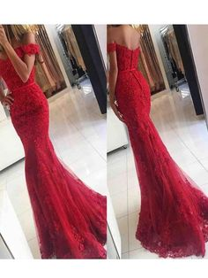 $199.99  Vintage Off Shoulder Red Lace Mermaid Prom Dress,Long Evening Party Dress,Long Prom Dress