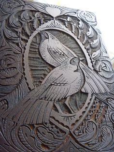 Mangle Prints: Valentine Lino Cut Print