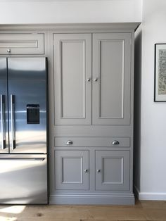 Our handmade Butler's Pantry cupboards with solid oak spice racks beautifully framing the Fisher & Paykel American Fridge freezer Kitchen Built Ins, Kitchen Larder, Kitchen Redo, Kitchen Remodel, Built In Fridge Freezer, Tudor Kitchen, American Fridge Freezers, Building Kitchen Cabinets, Free Kitchen Design