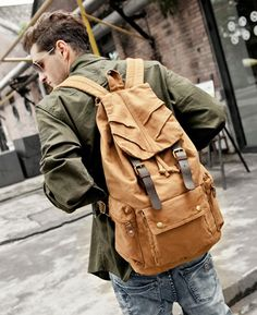 Military #Canvas Leather Hiking Travel Rucksack #Backpack