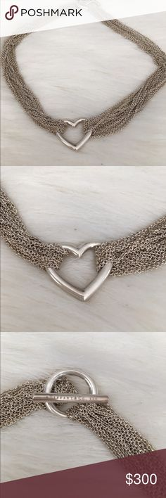Tiffany & Co. Open Heart Toggle Necklace Gorgeous Tiffany & Co. Open Heart 10 chain toggle necklace. Authentic. Tiffany and Co. 925 on toggle. I don't have box or bag. 15.5 x 1 Non Smoker No Trades Tiffany & Co. Jewelry Necklaces