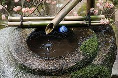 A tsukubai at Hosen-in temple, Ohara Japanese Temple, Japanese Art, Japanese Stone Lanterns, Bamboo Fountain, Water Spout, Basins, Temples, Serenity, Oriental