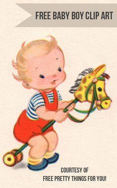 free vintage clip art: Baby Boy Image