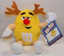 "2001 Yellow Peanut M&M's Christmas Reindeer 7"" Plush Stuffed Beanie Baby Nanco"