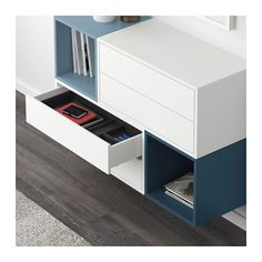 EKET Wall-mounted cabinet combination - white/light blue/dark blue - IKEA