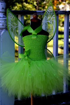 LED Disney Tinkerbell Fairy Inspired Lined Tutu Dress with Wings. Great for Birthday Parties, dress up or photoshoots!