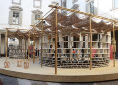 francis kéré installs bamboo and stone pavilion within palazzo courtyard Tectonic Architecture, Pavilion Architecture, Sustainable Architecture, Residential Architecture, Contemporary Architecture, Architecture Design, Landscape Architecture, Palazzo, Francis Kere