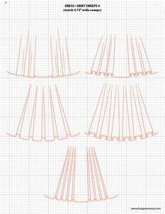 Dress / Skirt Sweeps 3 - Adobe Illustrator Flat Fashion Sketch Templates $49.95 - over 1,300 Mix-&-Match vector fashion technical drawing templates www.mypracticalskills.com #flatsketch #fashionsketch #fashiondesign #fashiontemplates #fashionCAD #vector #adobeillustrator