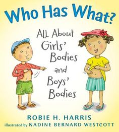 WHO HAS WHAT : ALL ABOUT GIRLS' BODIES AND BOYS' BODIES by Robie H Harris, illustrated by Nadine Bernard Wescott. I was a kid's bookseller for almost 20 years and I feel like I can say definitively, WHO HAS WHAT is the BEST book on the shelves when it comes to teaching children about their bodies. It is thorough and covers the subject in a story-like way that makes it all the more relatable to young listeners. Please read my review for all the details.