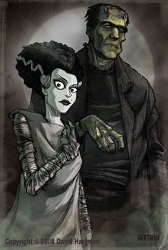 I've been wanting to draw a new Frankenstein's monster picture for a long time but haven't had much time to do it. I just had to put my work aside for an evening and work on this. Ha...