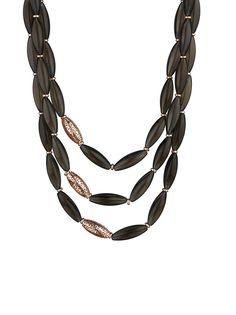 18k Rose Gold Plated Sterling Silver Sahara 3-strand Necklace with Smoky Quartz
