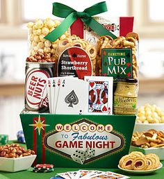 Dads Best Poker Night Gift Basket - high stakes handful of gourmet snacks that are sure to make poker night a real crowd pleaser
