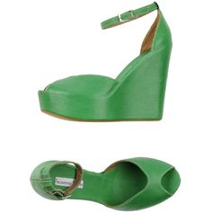 Suzanne White Sandals ($62) ❤ liked on Polyvore featuring shoes, sandals, wedges, green, wedges shoes, ankle wrap sandals, green sandals, wedge sandals and wedge heel sandals