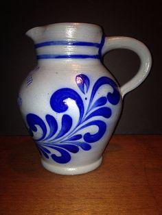 Vintage Handarbeit Salt Glaze Stoneware Cobalt Design  on Etsy, $32.75
