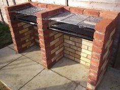 Simple brick BBQ, but has space for lots of food, or possibly have one side domed for pizza and roasts etc