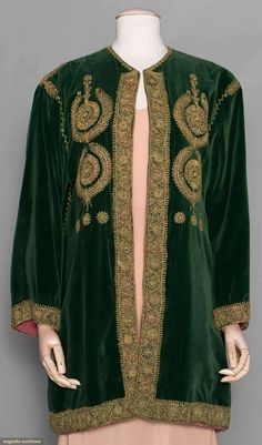 Green Velvet Jacket, forest green cotton velvet, hook & eye closure at neckline, metallic gold soutache embroidery in rondel motif w/ touches of pink, blue & dark green embroidery, mauve silk lining, early-mid 20th c