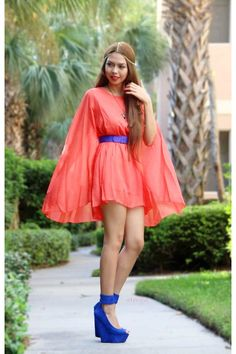 cape pleated dress - love the color