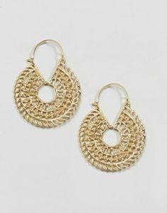 ASOS DESIGN Cut Out Disc Hoop Earrings