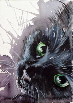ARTFINDER: Black cat by Kovács Anna Brigitta - Original watercolour painting on high quality watercolour paper. I love landscapes, still life, nature and wildlife, lights and shadows, colorful sight. Thes...