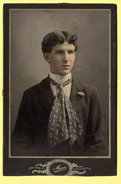 Style inspiration: this young fellow and his fantastic hair and necktie, 1904. This one is a shot by (I believe) photographer J. H. Meyer, located 1309 Vine Street, Cincinnati, Ohio (as noted out of frame).