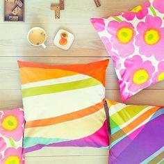 Marimekko Home Pictures, Marimekko, New Print, Home Collections, Colorful Decor, Home Textile, Home And Garden, House Design, Throw Pillows